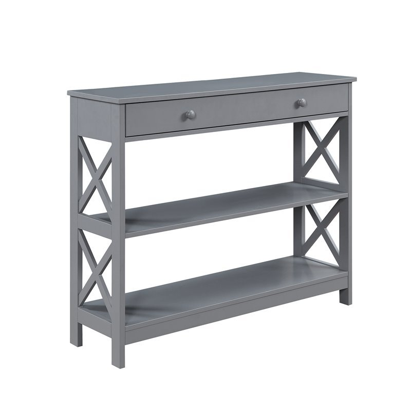 Tremendous Convenience Concepts Oxford 1 Drawer Console Table In Gray Machost Co Dining Chair Design Ideas Machostcouk