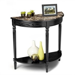 Convenience Concepts Faux Marble Demilune Console Table in Black