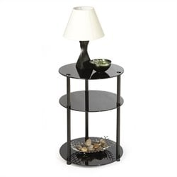 Convenience Concepts Classic Glass 3 Tier Round Accent Table in Black