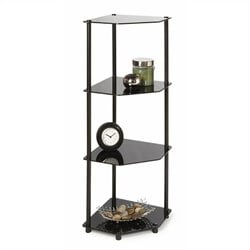 Convenience Concepts Classic Glass 4 Tier Corner Shelf in Black