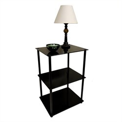 Convenience Concepts Classic Glass 3 Tier Lamp Table in Black