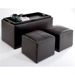 Convenience Concepts Sheridan Storage Bench Ottoman in Espresso