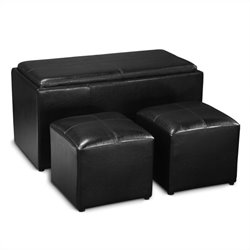 Storage Bench Ottoman in Black
