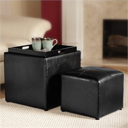 Convenience Concepts Park Avenue Single Cube Ottoman in Black