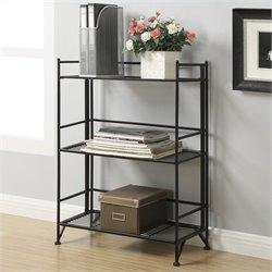 3 Tier Wide Folding Shelf in Black
