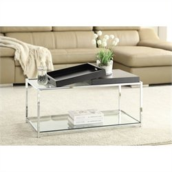 Convenience Concepts Palm Beach Glass Coffee Table in Black