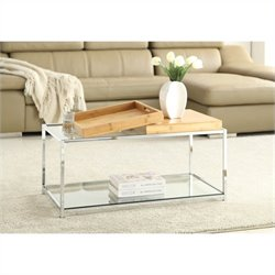 Convenience Concepts Palm Beach Glass Coffee Table in Bamboo