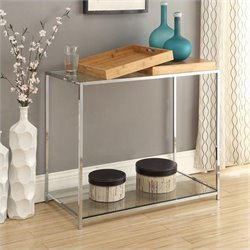 Glass Console Table in Bamboo