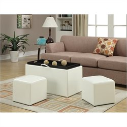 Convenience Concepts Designs4Comfort Sheridan Storage Bench with 2 Side Ottomans - White
