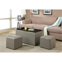 Convenience Concepts Designs4Comfort Sheridan Storage Bench with 2 Side Ottomans - Grey