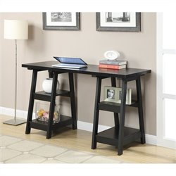 Convenience Concepts Designs2Go Double Trestle Desk - Black