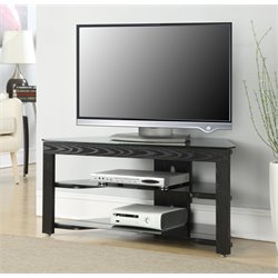 Convenience Concepts Designs2Go Classic Glass Wood TV Stand in Black