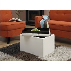 Convenience Concepts Designs4Comfort Accent Storage Ottoman - Ivory