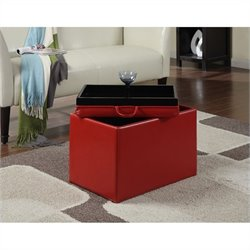 Convenience Concepts Designs4Comfort Accent Storage Ottoman - Red