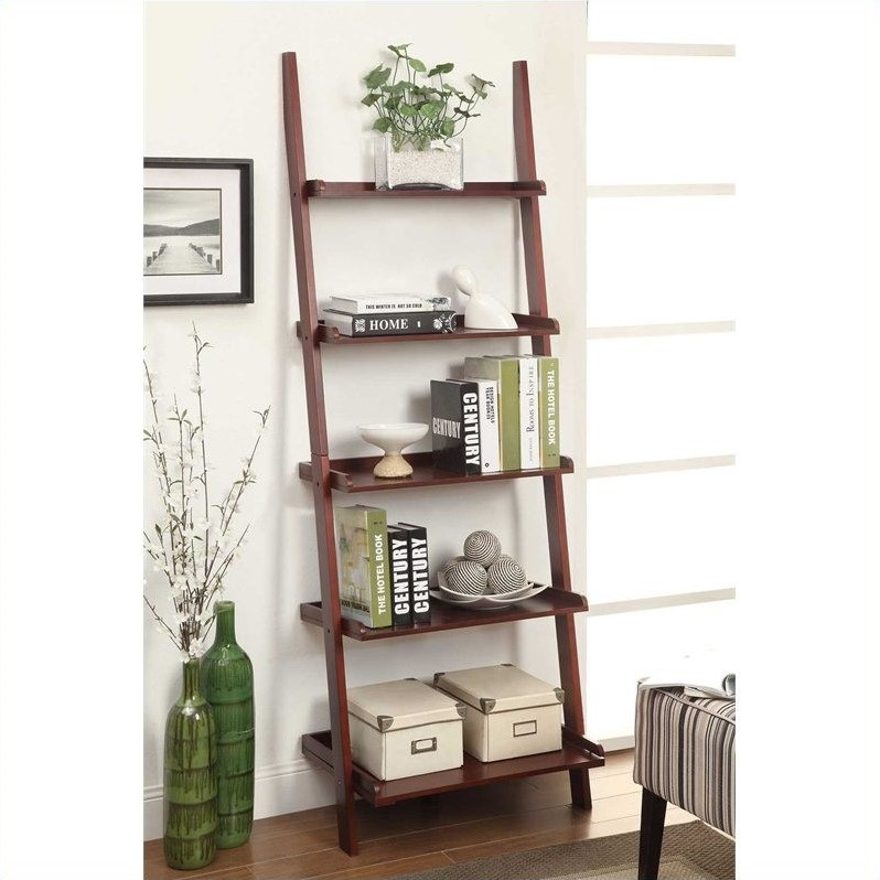 French Country Bookshelf Ladder - Dark Cherry