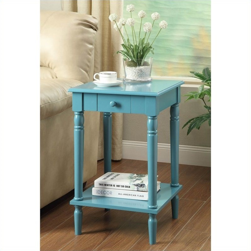 French Country End Table -  Blue