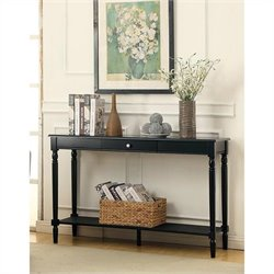 Convenience Concepts French Country Console Table with Drawer and Shelf - Black