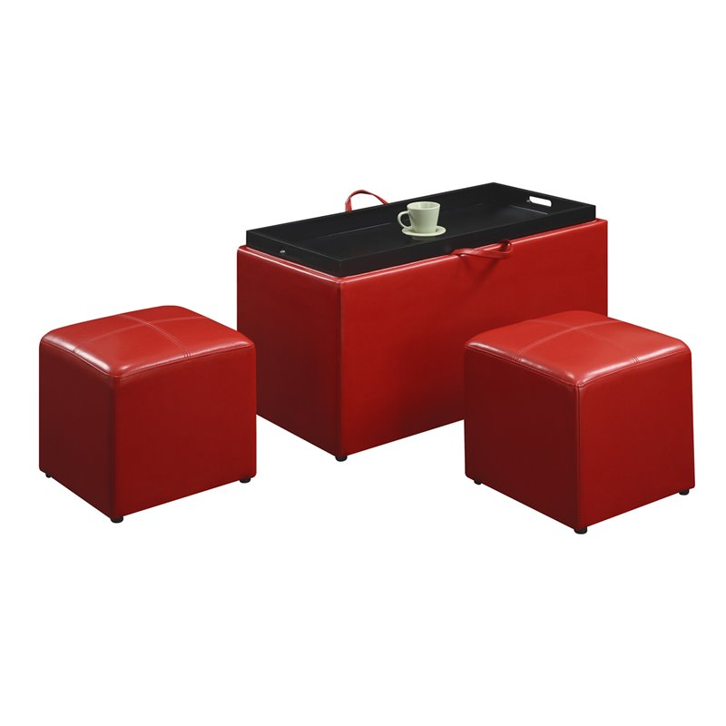 Convenience Concepts Designs4Comfort Sheridan Storage Bench with 2 Side Ottomans in Red