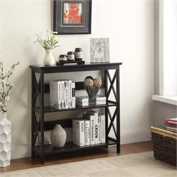 Convenience Concepts Oxford 2 Shelf Bookcase in Glossy Black