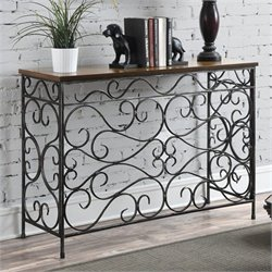 Convenience Concepts Wyoming Metal and Wood Console in Antique Black