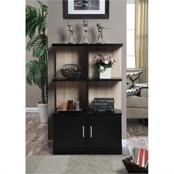 Convenience Concepts Key West Console Bookcase with Cabinet in Weathered White