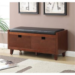 Convenience Concepts Designs4Comfort Baron Storage Bench in Mahogany