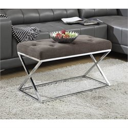 Convenience Concepts Boulevard Bench Ottoman in Taupe and Chrome