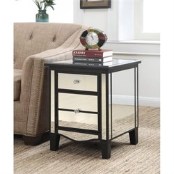 Convenience Concepts Gold Coast Park Lane Mirrored End Table in Black