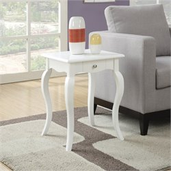 End Table with Drawer in White