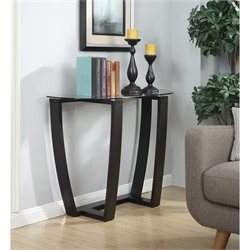Convenience Concepts Newport Glass Top Console Table in Espresso