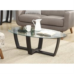Convenience Concepts Newport Glass Top Coffee Table in Espresso
