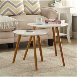Convenience Concepts Oslo Nesting End Tables in White and Natural