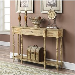 Convenience Concepts Wyoming Weathered Antique Console Table in White