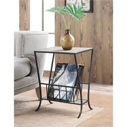 Convenience Concepts Wyoming Magazine End Table in Wood and Black