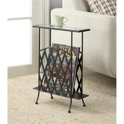 Convenience Concepts Wyoming Wrought Iron Glass Side Table in Black