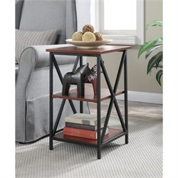Convenience Concepts Tucson 3 Tier End Table in Black and Cherry