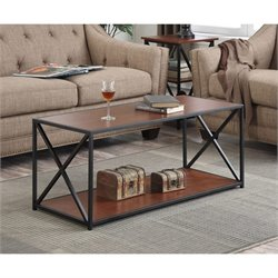 Convenience Concepts Tucson Coffee Table in Black and Cherry