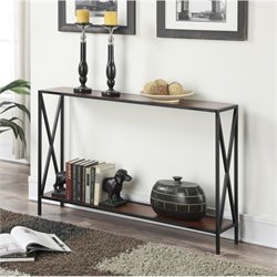 Convenience Concepts Tucson Console Table in Black and Cherry