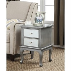 Convenience Concepts Gold Coast Mirrored End Table in Silver