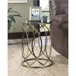 Convenience Concepts Gold Coast Round Accent End Table in Golden