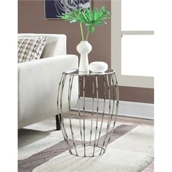 Convenience Concepts Gold Coast Round Mirror Accent Table in Pewter