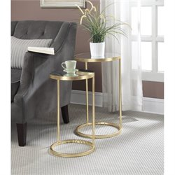 Convenience Concepts Gold Coast Nesting Mirror End Tables in Gold