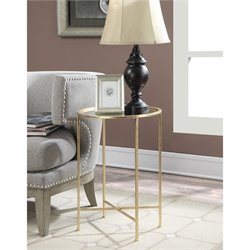 Convenience Concepts Gold Coast Julia Mirrored End Table in Gold