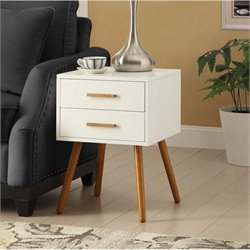 Convenience Concepts Oslo 2 Drawer End Table in White