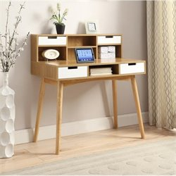 Convenience Concepts Oslo Secretary Desk in White and Light Oak