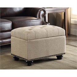 Convenience Concepts Designs4Comfort 5th Avenue Storage Ottoman in Tan