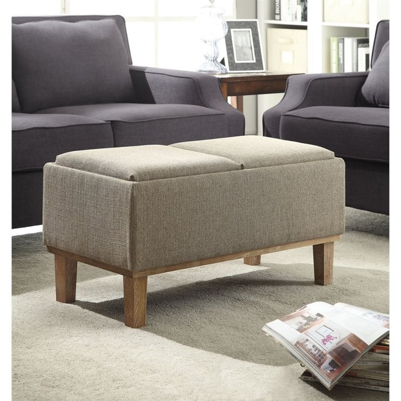 Convenience Concepts Designs4Comfort Brentwood Ottoman in Sandstone Beige Fabric