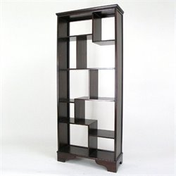 Wayborn Basswood Vertical Asian Storage Shelves in Dark Brown