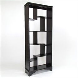 Wayborn Basswood Vertical Asian Storage Shelves in Black
