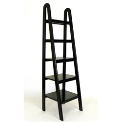 Wayborn Basswood 5 Tier Ladder Bookcase in Black